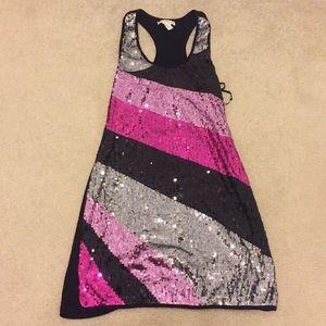 pink sequin mini dress